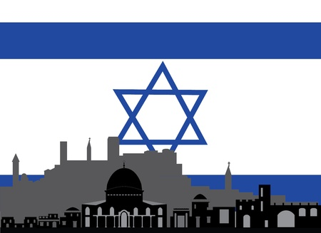 jerusalem skyline with the flag of david Vector
