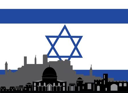 jeruzalem: skyline van Jeruzalem met de vlag van david Stock Illustratie
