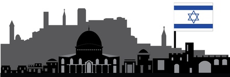 jeruzalem: jeruzalem skyline met vlag Stock Illustratie