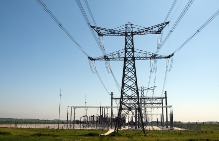 place for generating electricity and transport to other stations Stock Photo