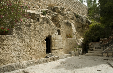 tomb empty: place of the resurrection of Jesus Christ in Jerusalem Israel