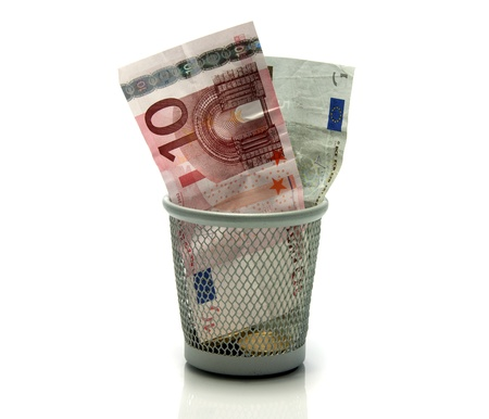 euro money in a trash