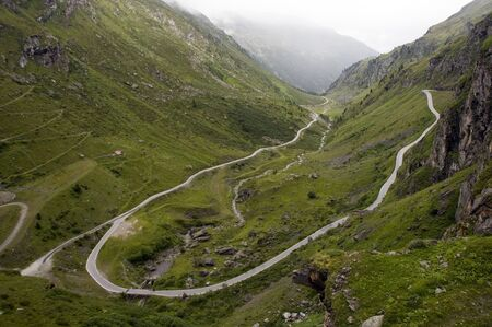 high road in the mountains with curves photo
