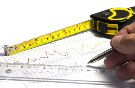 estimating: human hand measurement tool and graphics Stock Photo