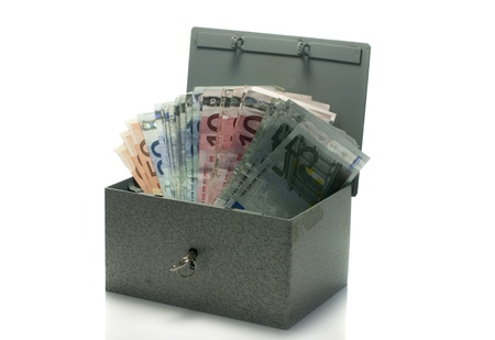 catena: strongbox with euro money isolated on white