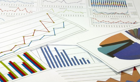 data graphics analysis in colors on a table photo