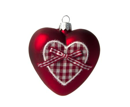 red christmas heart shape isalted on white photo