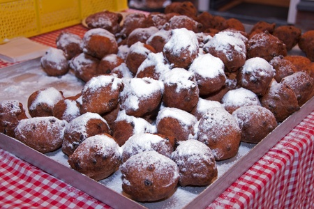dutch traditional food with sugar for new year  called oliebollen Stock Photo - 14532295