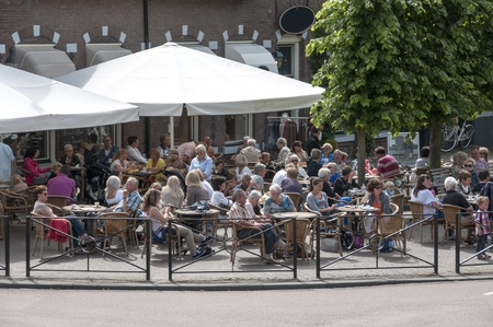people having fun on  a terrace in Middelharnis