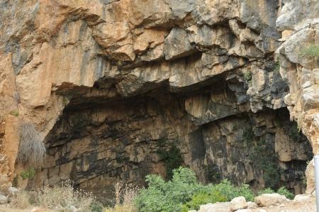 idolatry: Caesarea Philippi in Israel, source of the Jordan River and worship of Pan