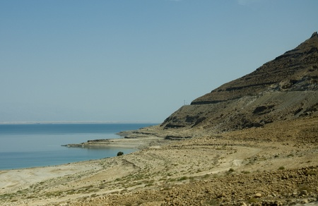 The dead sea in Israel with lot of salthy water photo