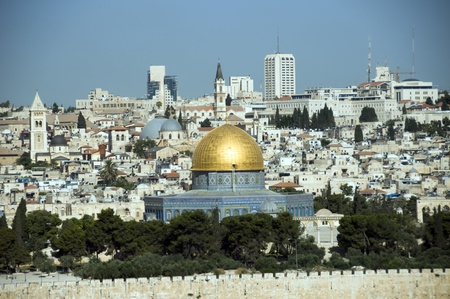jerusalem skyline with the rock mosk photo