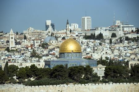 jewish town: jerusalem skyline with the rock mosk