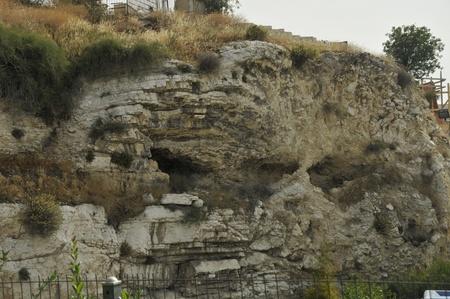オリーブ山から古い町エルサレム古代ゴルゴタ イエスがいると思われるエルサレムの場所の 1 つで十字架にかけられました。