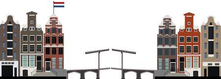 haltbarkeit: amsterdam Skyline mit niederl�ndischer Flagge Illustration