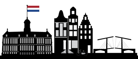 amsterdam skyline with dutch flag Stock Vector - 14614978