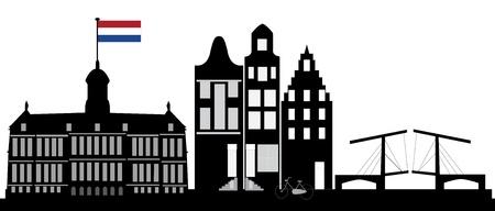 amsterdam skyline with dutch flag Stock Vector - 14614978