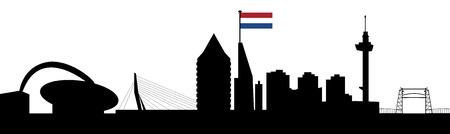 rotterdam skyline met Nederlandse vlag