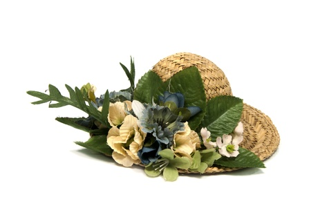 Woven Hat with flowers on white background photo