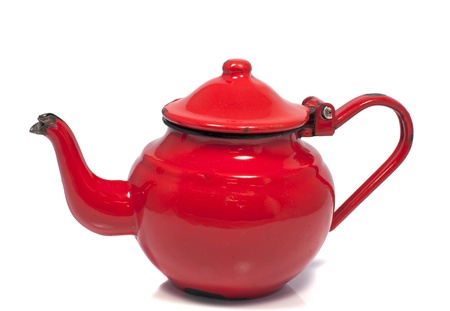 old metal red tea pot isolated on white Stock Photo - 14665766