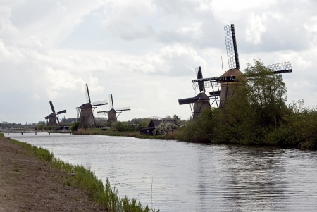 dutch windmills at famous place called kinderdijk