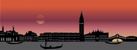 ヴェネツィア イタリア スカイライン  イラスト・ベクター素材