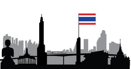 bangkok skyline with flag Vector