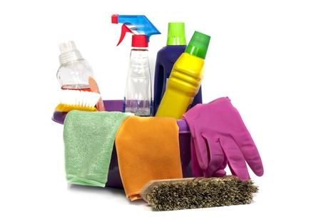 ツールと液体スプレー洗浄とピンクのシンク 写真素材