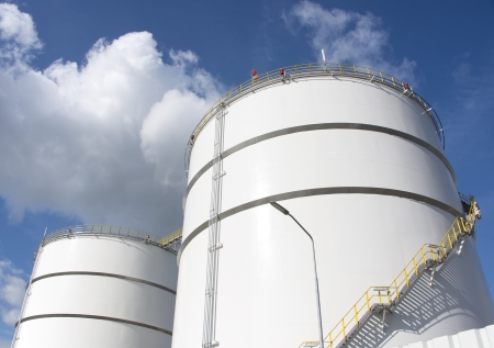 oil storage tanks in refinery Netherlands industrial area of Europoort near Rotterdam photo