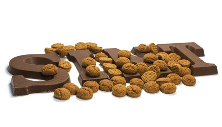 sint: The word Sint in chocolate letters for traditional party for kids in Holland 5 December