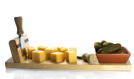 dutch cheese and pickle on wooden plate Stock Photo - 15758900
