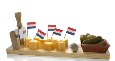 butterfat: dutch flag on pieces of cheese Stock Photo