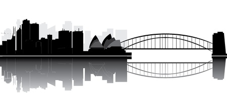 panoramic view: sydney skyline Illustration