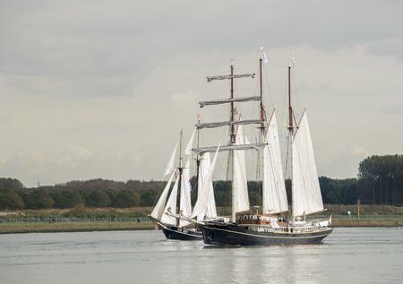 gulden: ROTTERDAM,NETHERLANDS - OCTOBER 10 The ship Gulden Leeuw sails out of the Rotterdam harbor,on October 10,2012 in Rotterdam,Netherlands Editorial