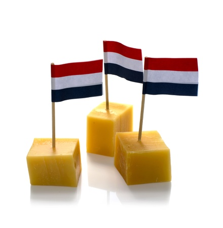 dutch cheese cubes with red white blue Netherlands flag Stock Photo - 15829094