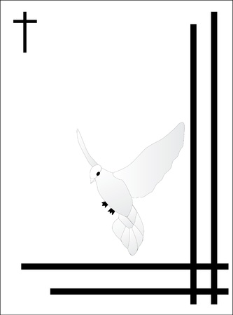 white bird condolence card Stock Vector - 15856595