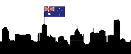australian money: melbourne skyline with australian flag