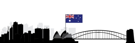 sydney skyline: sydney skyline with australian flag