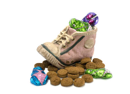 pepernoten: childrens shoe with pepernoten and other candy for the dutch sinterklaas party