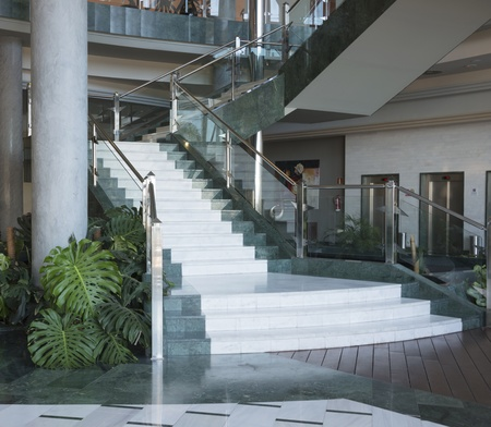 giant  marble stairs in luxury building