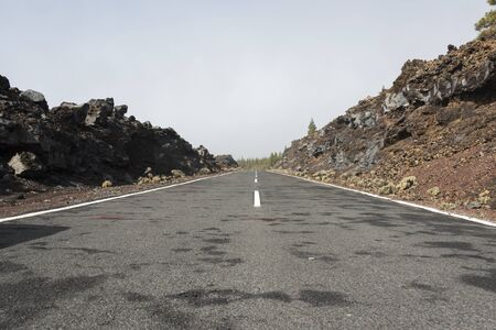 raod: raod to el teide volcano on the spanish island tenerife Stock Photo