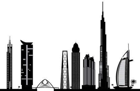 the emirates: Dubai horizonte Vectores