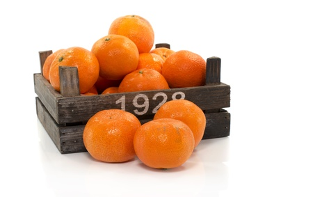 old wooden box with tangarine fruit Stock Photo - 17452529