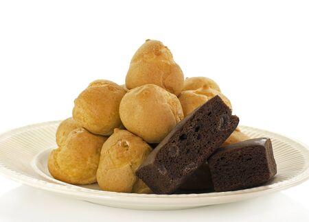 cream puff and brown cake Stock Photo - 17802850