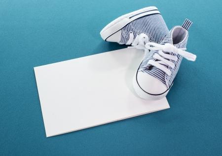 congratulations with a boy card with small sport shoes Zdjęcie Seryjne