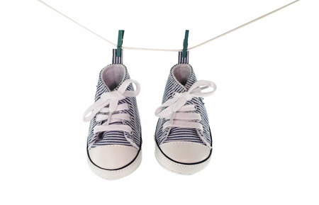 small baby sport shoes on white background photo