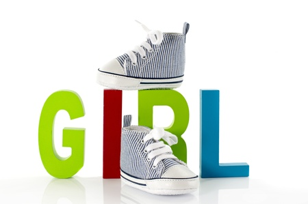 baby shoes with the letters girl Stock Photo - 18278778