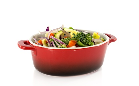 vegetarian food in red saucepan photo