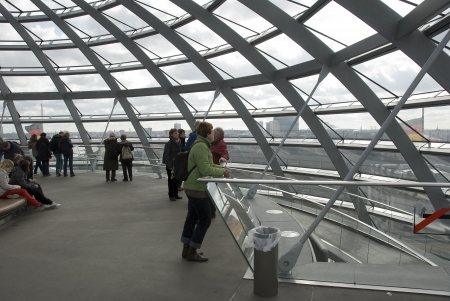 people in the Cupola on top of the Reichstag building in Berlin