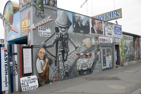 berlin: The East Side Gallery - the largest outdoor art gallery in the world on a segment of the Berlin Wall  Editorial